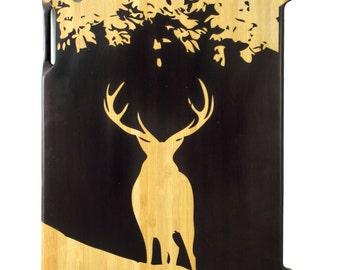Charred Bamboo iPad 2,3,4 case, Stag Under Tree design UK
