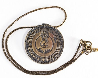 Medieval, Zodiac, Pendant, Etched, Brass, Necklace, Vintage, rope chain