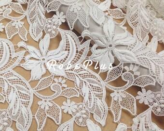 White Lace Fabric - White Guipure Lace - White floral lace fabric - Floral Embroidered Lace-White Floral Lace Fabric -L38