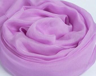 Light Purple Silk Scarf - Light Purple Mulberry Silk Chiffon Scarf - AS2014-10