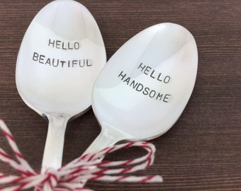 Hello Beautiful Hello Handsome Spoon Set - Hand Stamped spoons, coffee spoon, Wedding Gift, gift under 30, vedding spoons