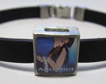 The Water Bearer Aquarius Zodiac Sign Link With Choice Of Colored Band Charm Bracelet