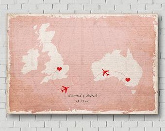 Unique Wedding Guest Book - Vintage World Map Guest Book - Wedding Poster -Wedding Art Print - Wedding Map - Destination Wedding - Love Map