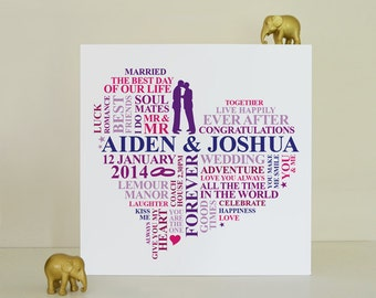 Canvas gay male wedding gift. Personalised wedding gift. Unique wedding present. LGBT Pride. Gay wedding gift. Male wedding present.