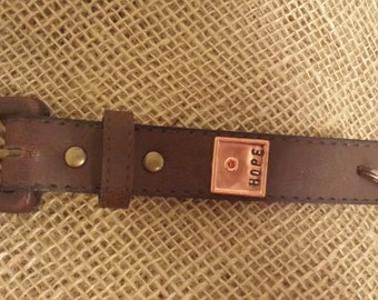 Stamped Leather Keychain with HOPE stamped on to a Copper Square Blank