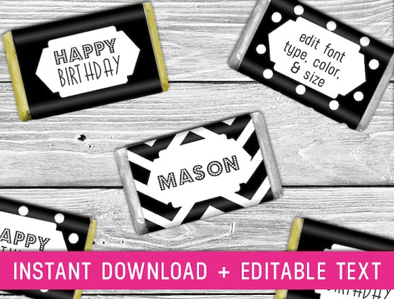 Printable Mini Candy Wrappers black chocolate by ...