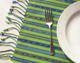Handwoven Placemats, Set 4, Fair Trade, Spring Lime Green With Mayan Ikat for a Unique Modern Yet Tribal Look