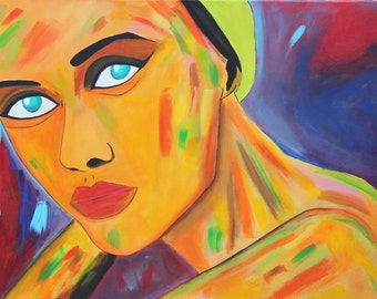 Original Abstract Portrait Woman's Face, Modern acrylic abstract portrait painting, Large Contemporary Art