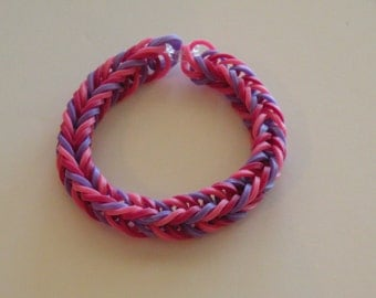 Fishtail Rubber band Bracelet By Brittani   light pink, dk pink, and purple or Custome colors Latex Free
