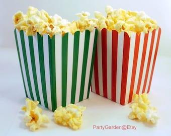 12 Christmas Mini Popcorn Box Set - Red Stripe and Green Stripe