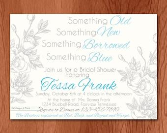 Something Blue Bridal Shower Invitation - Printable Invitation - Something Old New Borrowed Blue Invitation