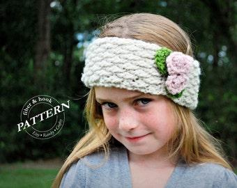 CROCHET PATTERN - Petite Roses Headband Pattern, Flower Headband Pattern, Crochet Scarflet Pattern (Toddler, Child, Adult Sizes) pdf #005B