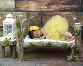Photo Prop Log bed Newborn photography prop hand made wooden bed