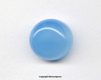 10 mm Natural Loose Aqua Blue Chalcedony Round Cabochon for ONE