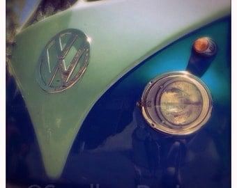 4 x 4 photo card-Florescent Blue VW bus