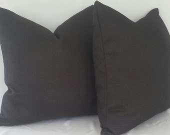 Set of 2: Duralee Jet Black Textured Pillow Cover