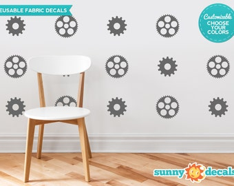 Gears and Cogs Fabric Wall Decals  - Set of 18 Gears and Cogs Decals - Custom Options Available - Reusable, Repositionable