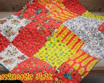 SALE!!Gender Neutral Petite Plume(Red) Baby/Toddler Quilt