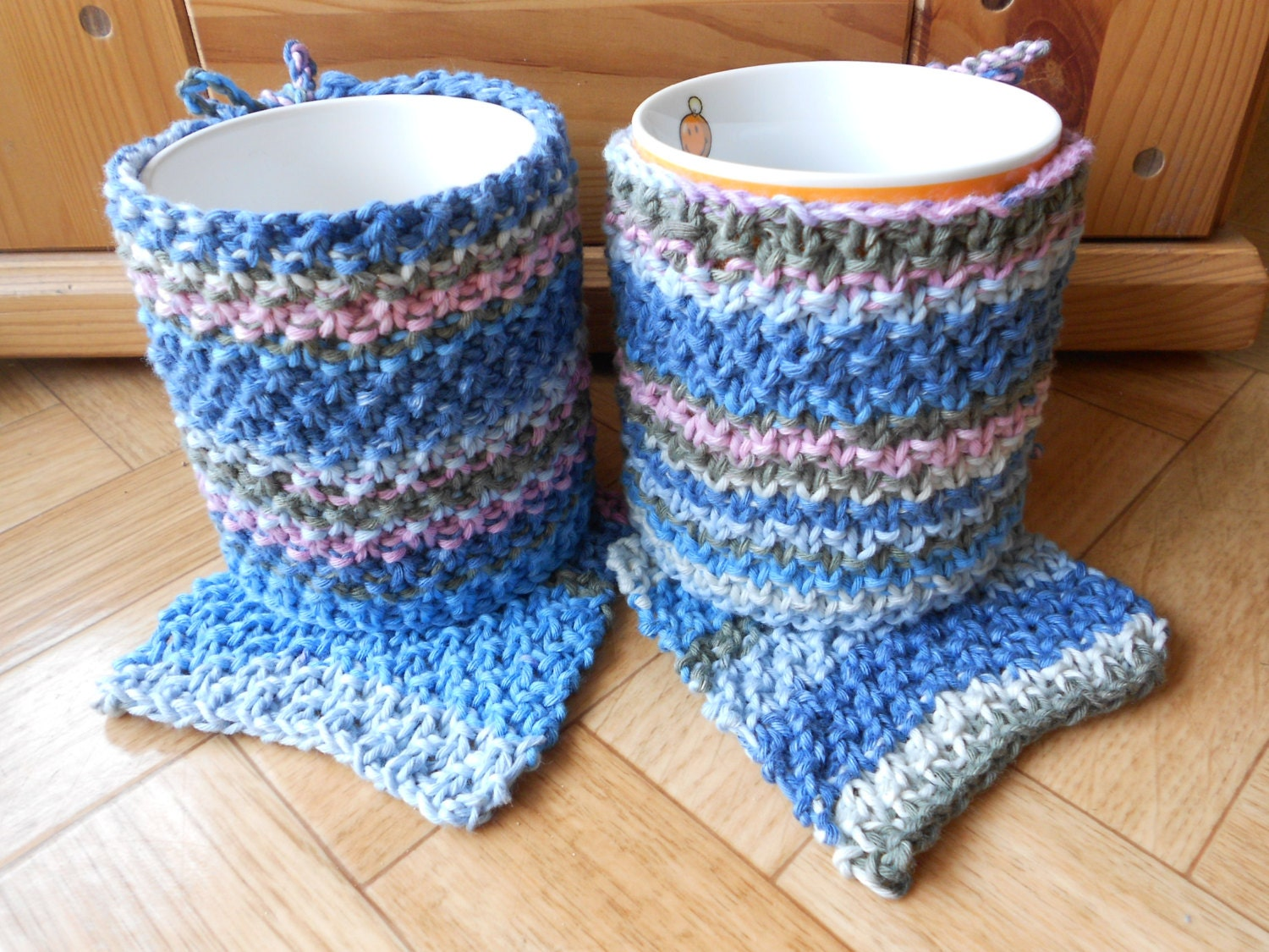 Knitted Mug Warmers Pattern : Knit mug cozies and coasters Hand knitted by CuteCreationsByLea