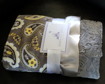 Paisley Baby Minky Blanket in Yellow, Gray, Charcoal, and White with a Solid Paisley Backing and Soft Satin Ruffle Trim - Baby Shower