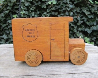 Vintage Wooden Armored Truck Bank - Toystalgia 1976 - 1970's Wooden Bank