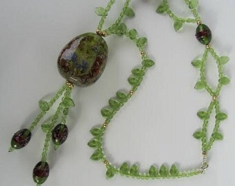 THE SECRET FOREST lampwork glass necklace