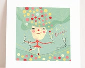 giclee print - let it bubble - art print - joyful illustration -  inspirational wall art - bubbles - tightrope - balance - inspiration