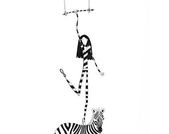 Trapeze artist and zebra A4 signed limited edition print