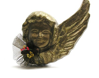 Vintage Christmas Angel Bronze and Gold Painted Paper Maché Angel