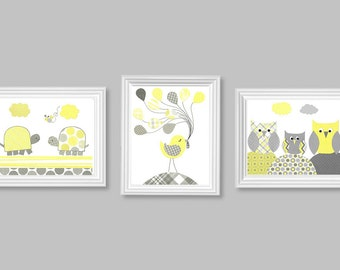 Nursery Print Set of 3, Yellow and Grey Turtles, Bird, Balloons, Owls, Children, Gender Neutral, Boy's Room Decor, Girl's Room Wall Decor