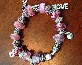 Bracelet, Murano Bead Bracelet, Cancer Awareness Bracelet, Breast Cancer Awareness Bracelet, Pink Lampwork Bead Bracelet