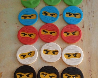 Ninjago face INSPIRED cupcake toppers