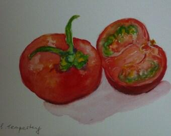 Original watercolour painting.  Fine art.  Love apple.  Tomato