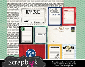 Tennessee Journal Cards. Digital Scrapbooking. Project Life. Instant Download.