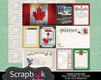Canada Journal Cards. Digital Scrapbooking. Project Life. Instant Download.