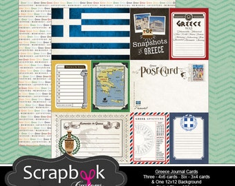 Greece Journal Cards. Digital Scrapbooking. Project Life. Instant Download.