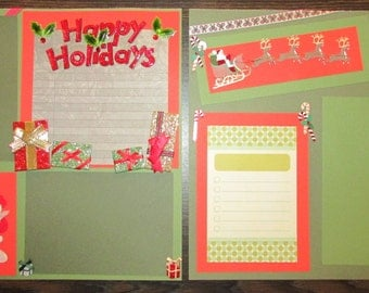 12x12 Happy Holidays, Santa's Sleigh Scrapbook Page, Christmas Layout, Christmas Scrapbook, Chirstmas Page, Premade Page, Holiday Layout