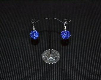 Dark Blue Sphere Earrings