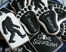 One dozen (12) BIGFOOT SASQUATCH Sugar Cookies