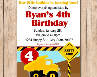 Dump Truck Birthday Invitation - Construction - 1.00 each printed or 10.00 DIY file