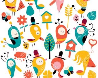 Birds and Garden Digital Clip Art (Instant Download)