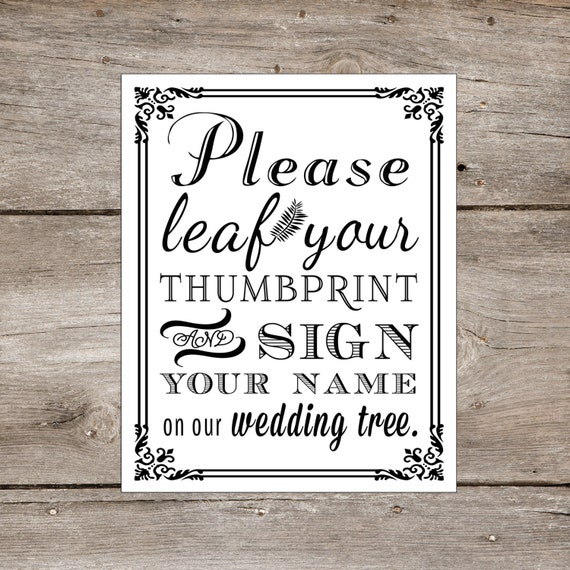 Thumbprint Tree Guest Sign: PRINTABLE Wedding Tree Thumbprint Guest By Freshlovecreations