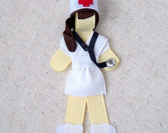 Retro Nurse Ribbon Sculpture Hair Clip or Brooch Pin, completely customizable