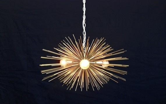 3-Bulb Gold Mini Urchin Chandelier