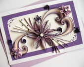 """Mother's Day Card - Mom Birthday - Handmade Paper Quilling Card - Valentine's Day - Purple Quilled Heart Flower - 5""""x8"""""""