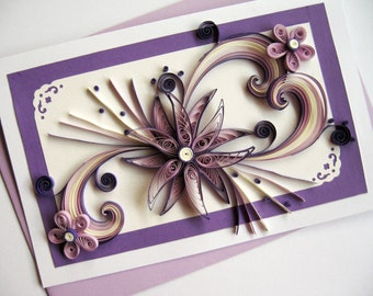 "Mother's Day Card - Mom Birthday - Handmade Paper Quilling Card - Valentine's Day - Purple Quilled Heart Flower - 5""x8"""