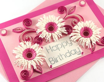 Happy Birthday Card - Mom Birthday Card - Girlfriend Birthday Card - Quilling Birthday card - handmade paper quilling card - Quilling Daisy