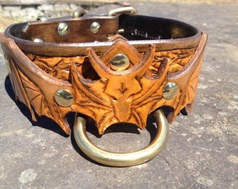 Antique Dragon Hand Tooled Leather Dog Collar