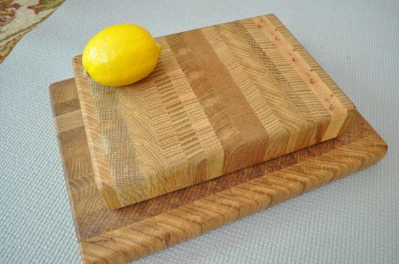 Gift Pack 2 Handmade End Grain Solid on Quarter Sawn Oak Cutting Board