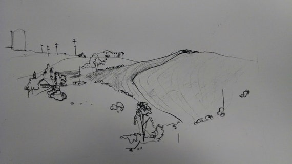 ROLLING HILLS sketch in ink copy of rare original by D.